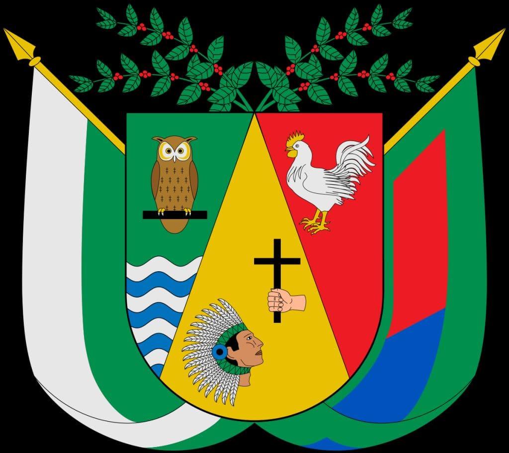 Escudo del Municipio de Ebéjico, tiene las banderas de Antioquia y de Abéjico