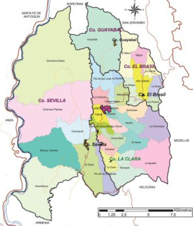 Mapa de Ébejico con división veredas