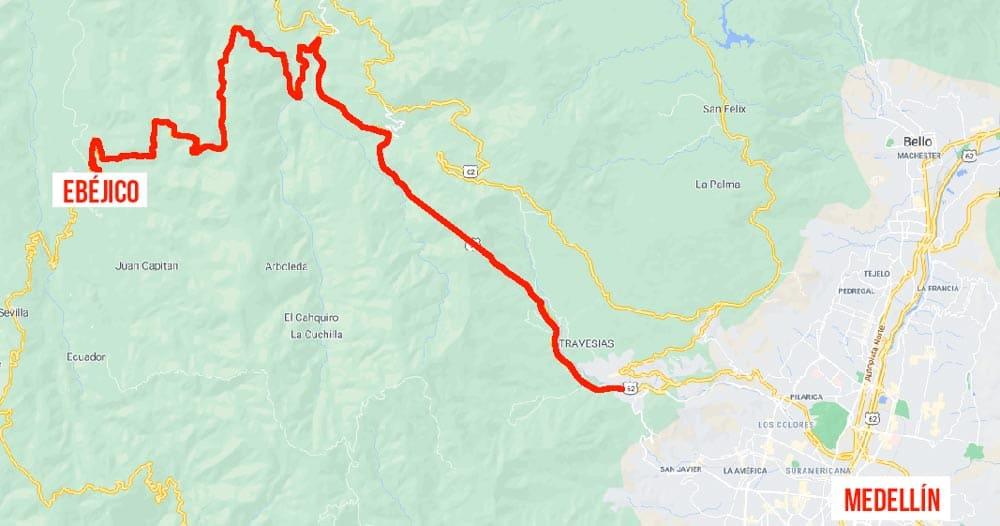 Mapa trayecto de Medellín hacia ebéjico